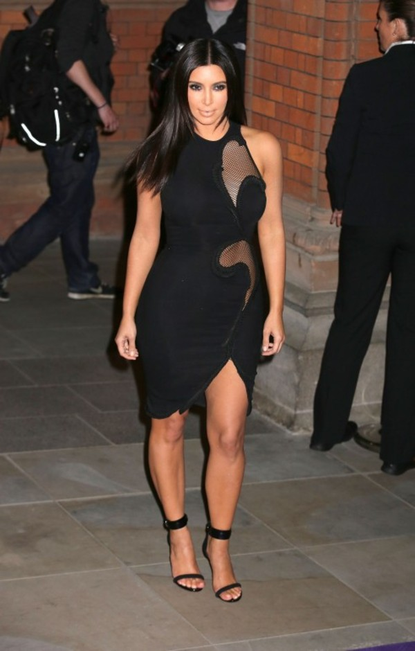 dress black kim kardashian mesh dress bandage dress mini dress cut-out bodycon dress kardashians fashion runway stella mcartney custom dress see through see through dress little black dress