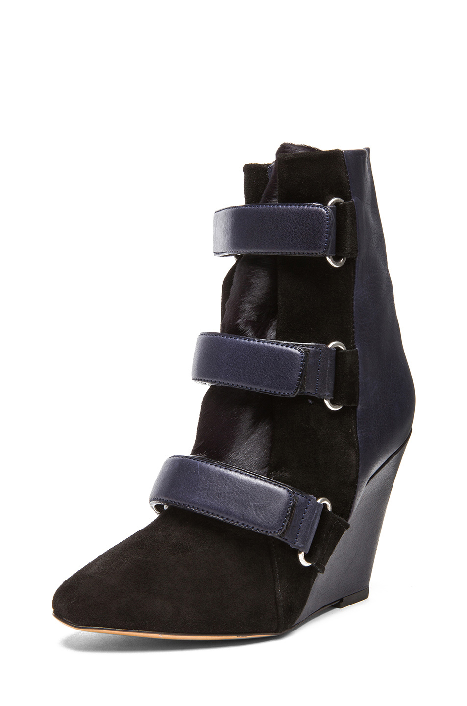 Isabel Marant|Scarlet Calfskin Suede Leather Wedge Bootie in Midnight