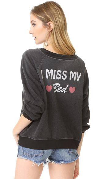 sweater fashion clothes wildfox i miss my bed sweatshirt