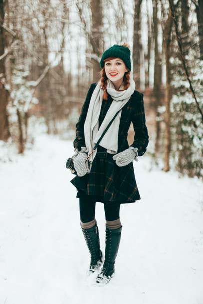 the clothes blogger coat knitted beanie gloves tartan lace up boots knitted gloves beanie pom pom beanie tartan skirt plaid skirt plaid scarf winter outfits winter coat winter look winter boots