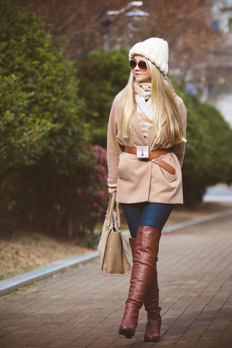 my blonde gal blogger scarf thigh high boots brown leather boots waist belt sweater bag hat coat belt shoes jeans brown boots