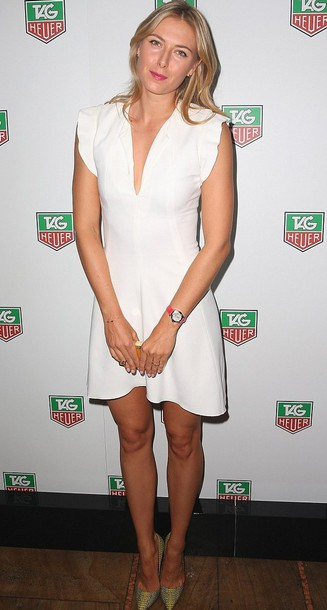 maria sharapova white dress pumps