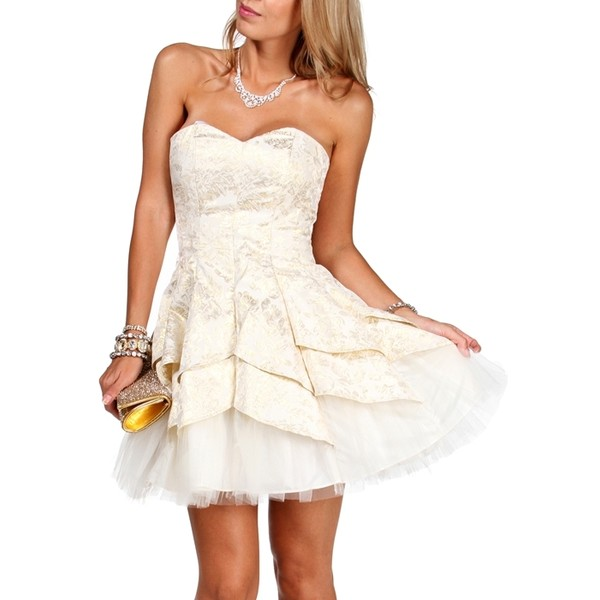Masquerade Carrie-Ivory/Gold Homecoming Dress - Polyvore