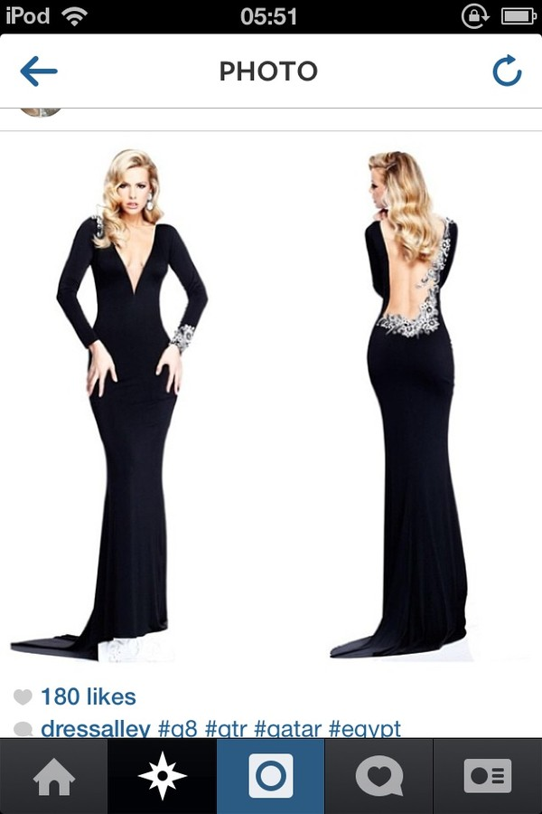 dress black prom long tight diamanté backless long sleeves pretty beautiful elegant