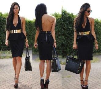 dress golden belt black dress open back sweet 16 dresses