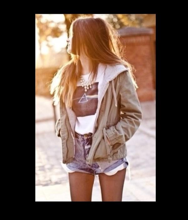 coat shorts t-shirt pink floyd shirt
