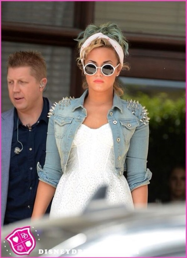 jacket denim jacket studs demi lovato dress sunglasses denim jacket