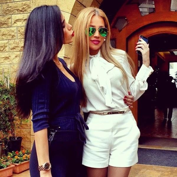 blouse zara shorts white aviator sunglasses High waisted shorts