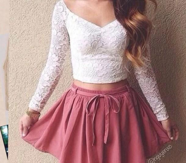 shirt lace top skirt