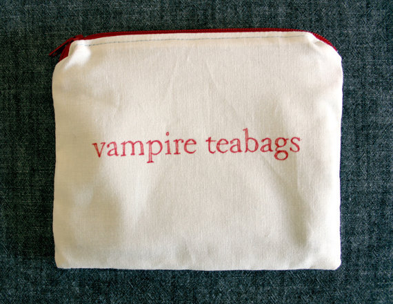 INdiscreet Zip Pouch for Tampons, Menstrual Pads, Feminine Products - vampire teabags on Wanelo