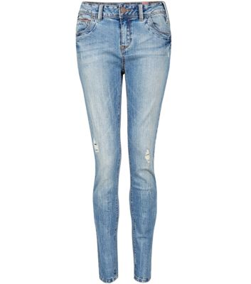 32in Light Blue Ripped Faded Skinny Jeans