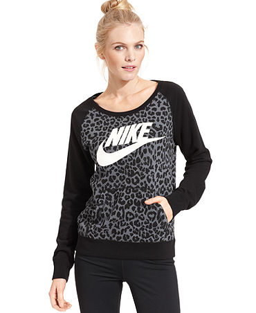 Nike Rally Cheetah-Print Sweatshirt - Tops - Women - Macy's