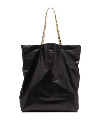 Lanvin Large Chain-Strap Lambskin Tote Bag, Black