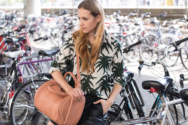 fashion gamble blouse skirt shoes bag palm tree print tropical