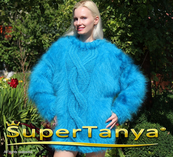 Thick hand knitted aqua blue mohair sweater with by supertanya
