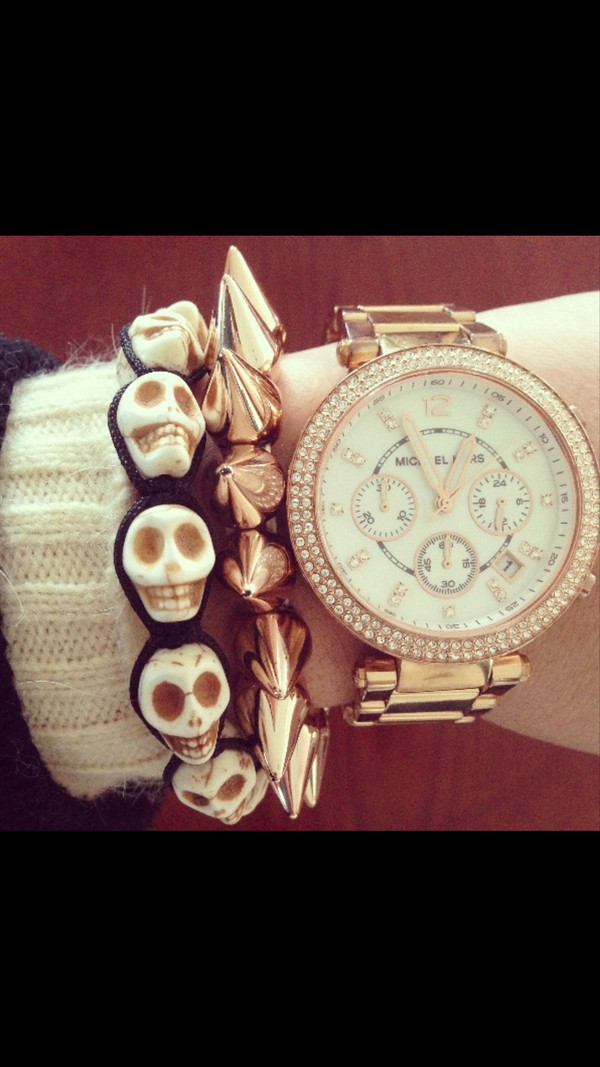 jewels gold rosy style jewelry skull bracelets black spiked