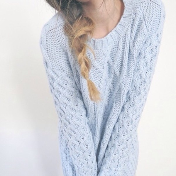 light blue pastel pastel blue pastel sweater knitted sweater knitwear cable knit sweater heavy knit jumper jumper blue sweater kawaii fall sweater winter sweater