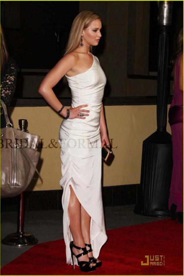 dress long dress fashion jennifer lawrence white dress celebrity style