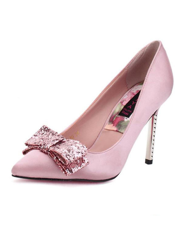 Sweet Stiletto Heel Bowknot Sequin Satin Pointed Toe Pumps : KissChic.com