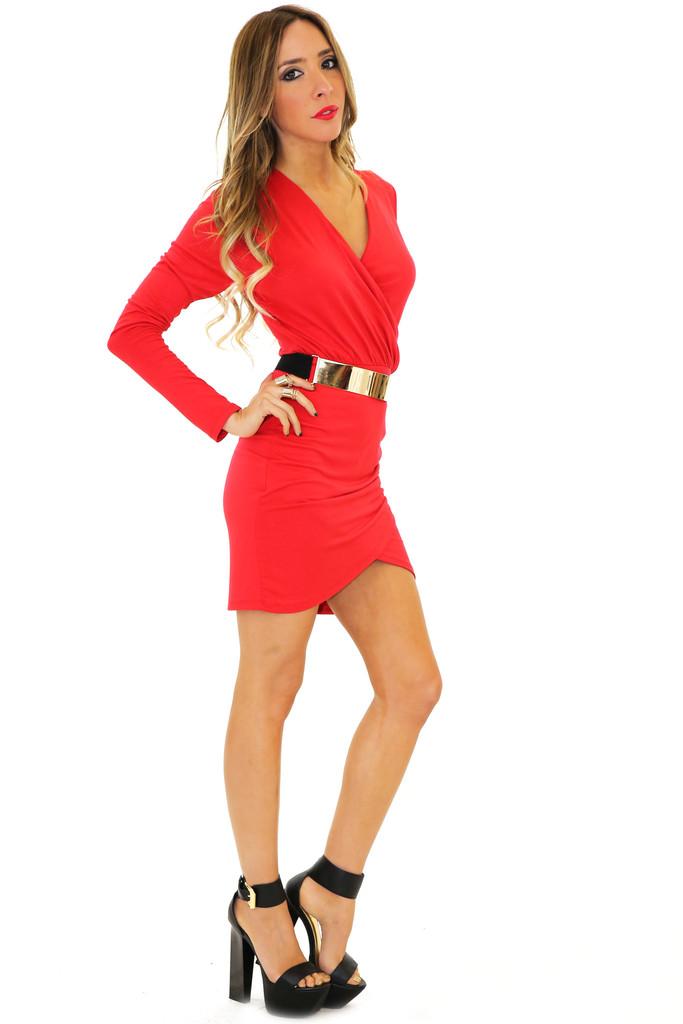 JANE DRAPED DRESS - Red   Haute & Rebellious
