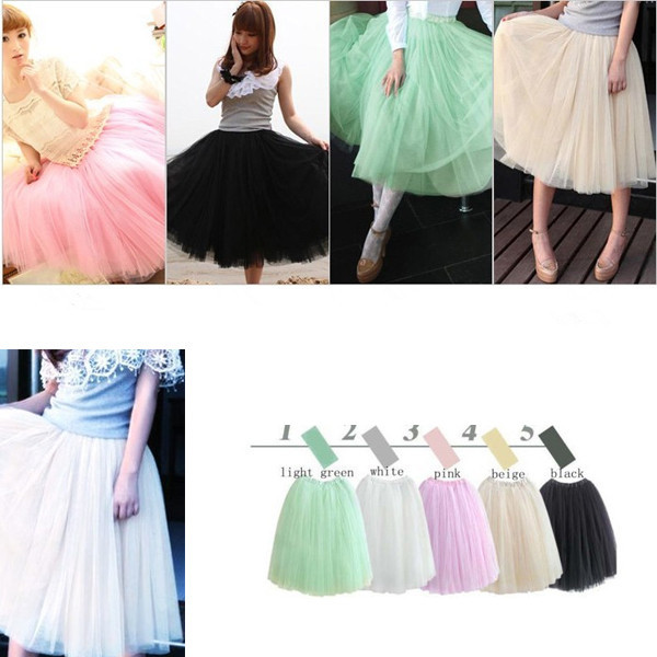 Fashion Womens Lace Princess Fairy Style 5 Layers Tulle Bouffant Skirt 5 Colors long skirts-in Skirts from Apparel & Accessories on Aliexpress.com
