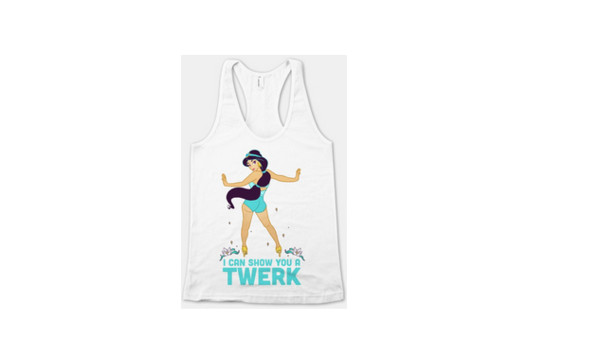 blouse Jasmine disney princess twerk white tank top