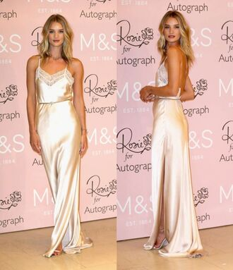 dress gown silk maxi dress rosie huntington-whiteley shoes sandals