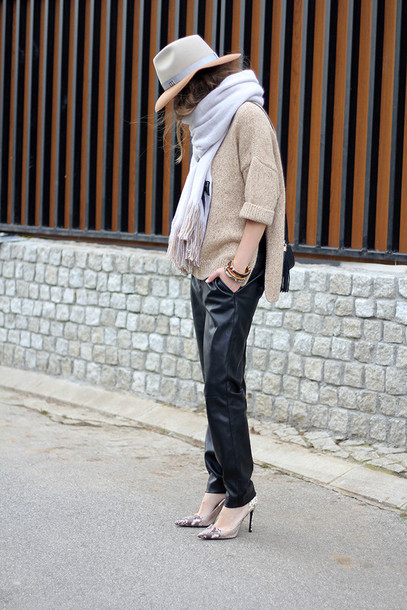fashion and style blogger scarf fedora leather pants stilettos oversized sweater shoes pants sweater jewels hat bag