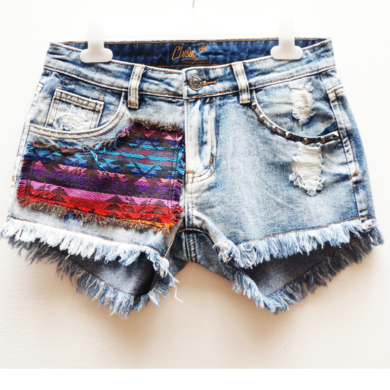 Tribal Patch Cut Off Shorts | Affordable Junior Clothing & Plus Sized Dresses | Shimmer