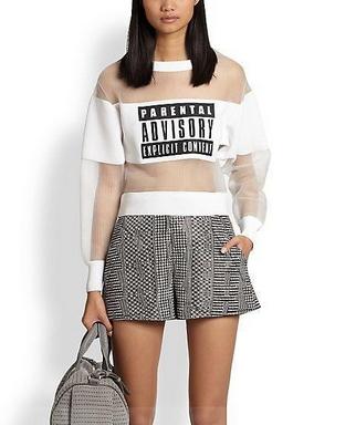 Parental Advisory Print T-Shirt - Juicy Wardrobe