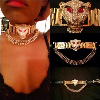 jewels necklace choker necklace gems panther gold details gold black crystal diamonds versace