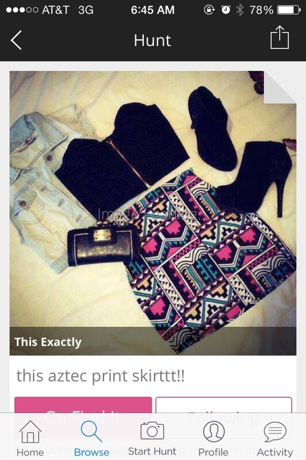 skirt multicolor tribal pattern aztec