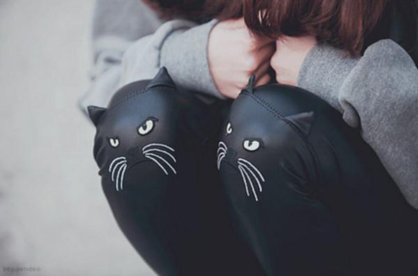 pants cats ears black faux leather leggings