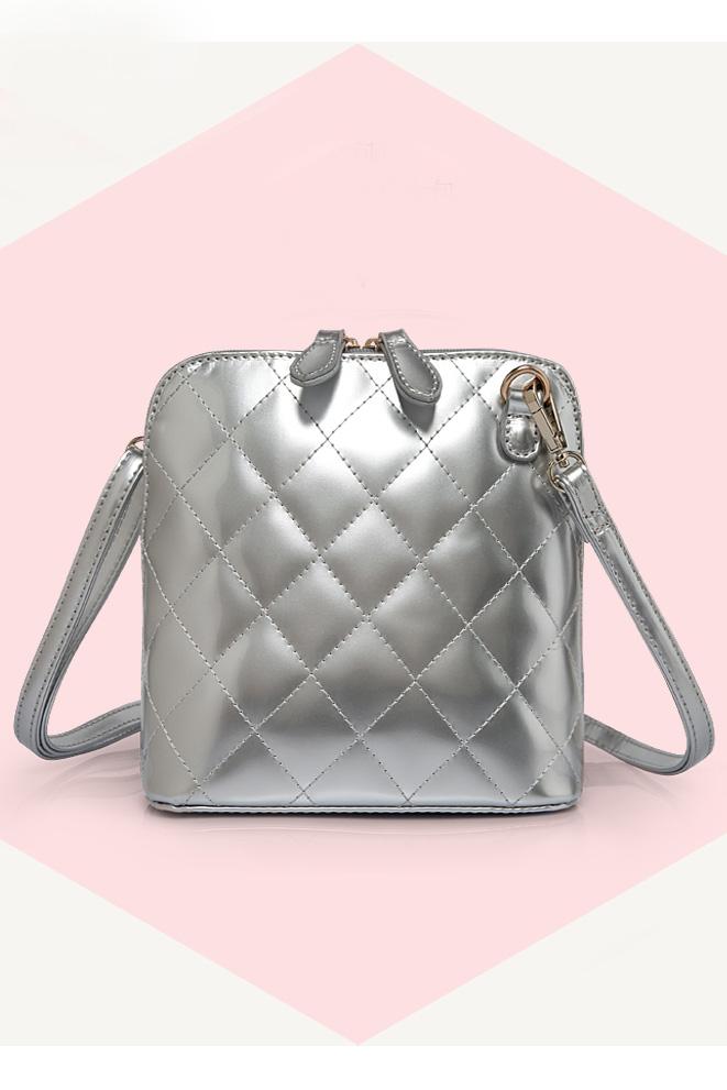 Shining Diamond Check Crossbody Bag in Silver [DLN0010] - PersunMall.com