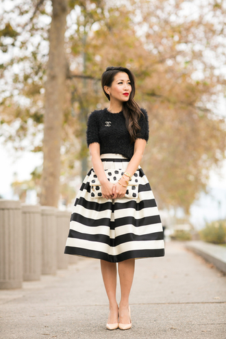 wendy's lookbook blogger skirt midi skirt striped skirt fuzzy sweater polka dots pouch printed pouch high waisted skirt black top crop tops cropped sweater black crop top chanel brooch