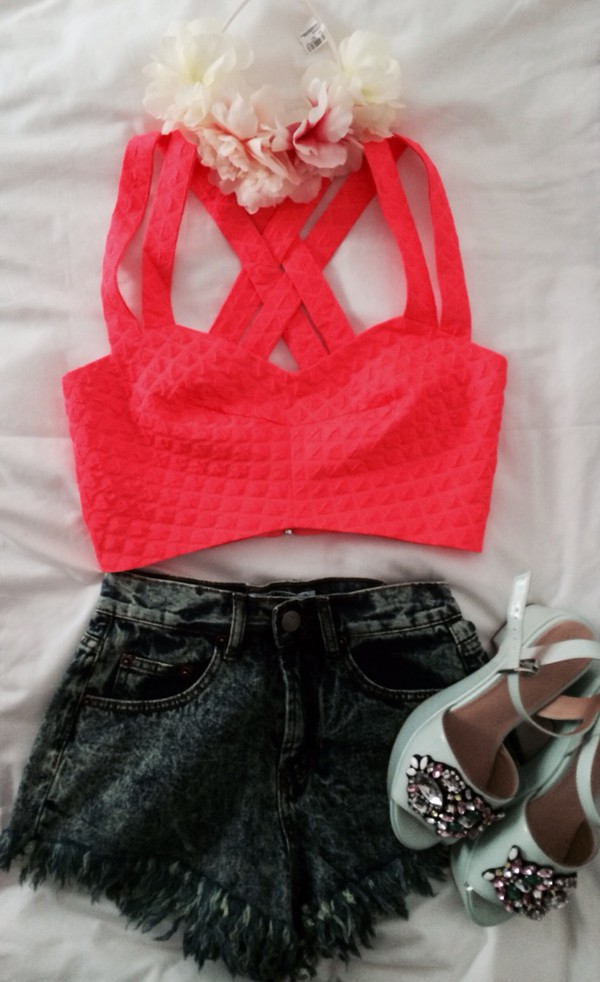 top orange pink neon pink toppink pink top amazing cute cute top flounce shorts shoes jewels