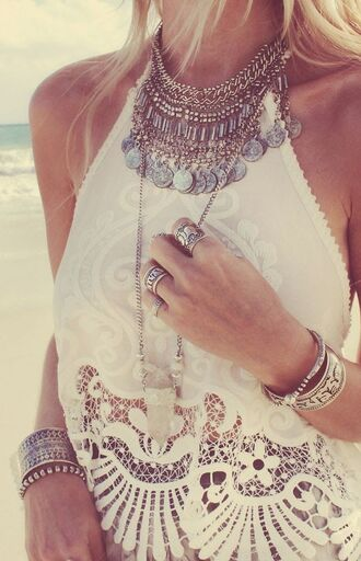 necklace rings and tings crochet crop top jewels singlet top t-shirt shirt jeans coin necklace halter neck summer accessories