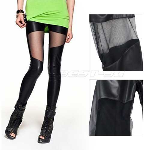 Fashion Sexy Lady Girl Goth Punk Faux PU Leather Mesh Leggings Tights Pants | eBay