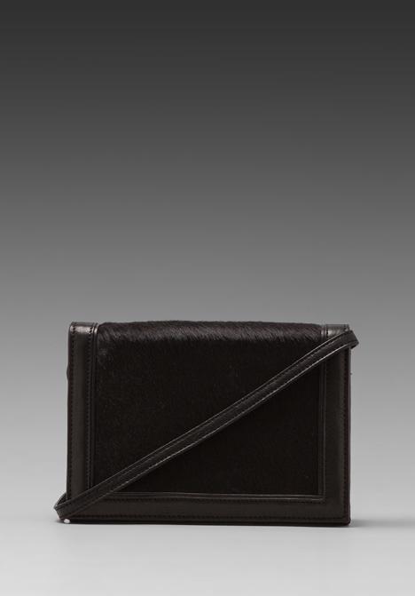 HARE   HART Convertible Calf Hair Shoulder Bag in Black - HARE   HART