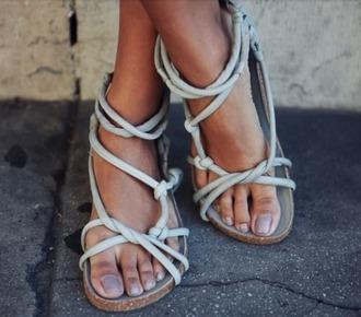shoes sandals jesus sandals gladiators rope knots flat sandals grey sandals strappy sandals