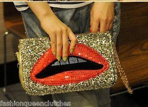 Glitter Shinny Lips Chain Bag Women Clutch Normal Purse Fashion Funky Handbags | eBay