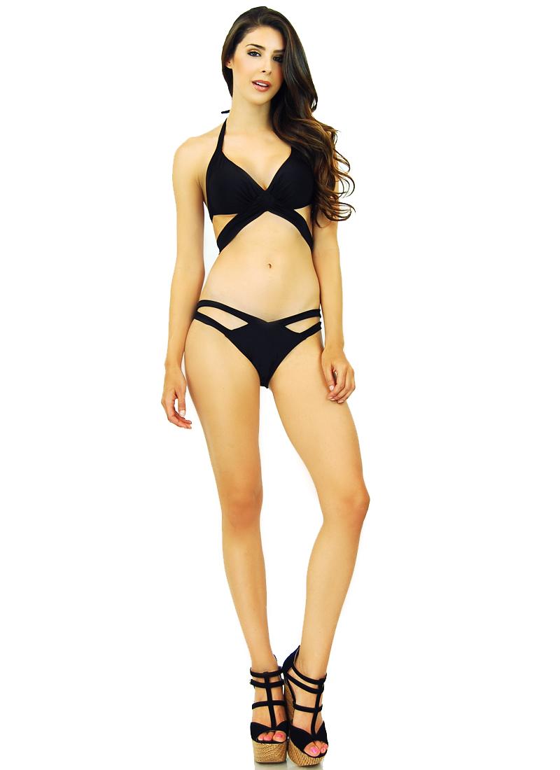 Style Creek Padded Halter String x Appeal Criss Cross Bikini Top Bottom 10884 | eBay