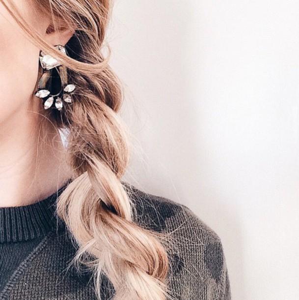 Jewels Tumblr Statement Earrings Earrings Jewelry Braid Hairstyles Blonde Hair Wheretoget