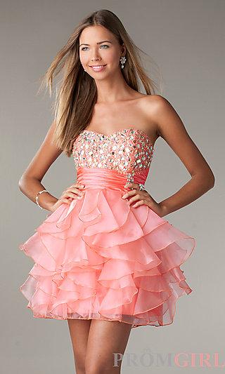 Strapless Party Dress, LA Glo Short Ruffled Prom Dress- PromGirl