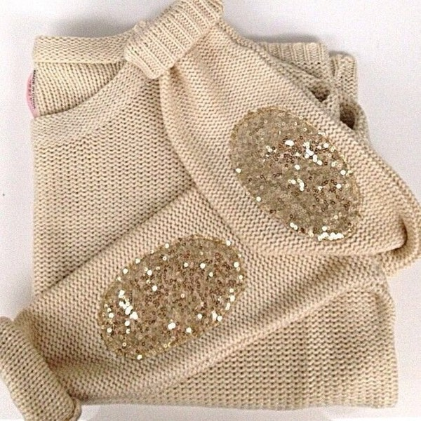 sweater sweater with patches sequins cream