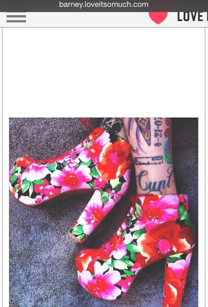 shoes lovely floral high heels