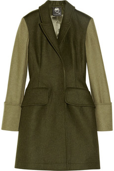 McQ Alexander McQueen Two-tone wool-blend coat - 64% Off Now at THE OUTNET