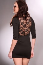 Black Scoop Neck Quarter Sleeves Floral Lace Chic Dress @ Amiclubwear sexy dresses,sexy dress,prom dress,summer dress,spring dress,prom gowns,teens dresses,sexy party wear,women's cocktail dresses,ball dresses,sun dresses,trendy dresses,sweater dresses,te