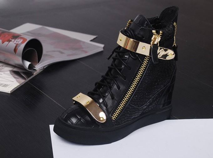 Crocodile Leather Gold Metal Giuseppe Shoes, Giuseppe Sneakers, High Top Wedge Sneakers For Women Freeshipping-in Mules & Clogs from Shoes on Aliexpress.com
