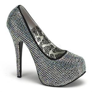 Teeze-06R Pewter Rhinestone Pumps   Pewter Bordello Shoes, Rhinestone Platform High Heels